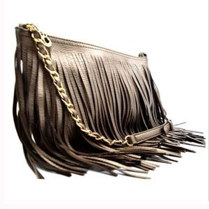 Handbags - Pewter Fringe Crossbody Bag